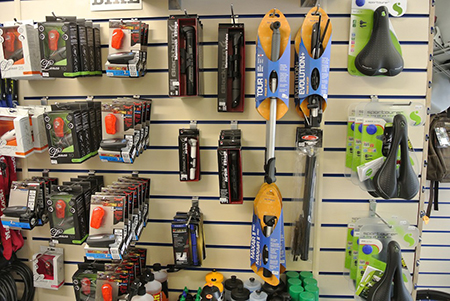 bike accessories, lights, pumps and oil at Active Cycles Richmond